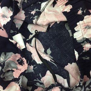 Vintage Skirts - Vintage 90s navy dark floral pleated midi skirt